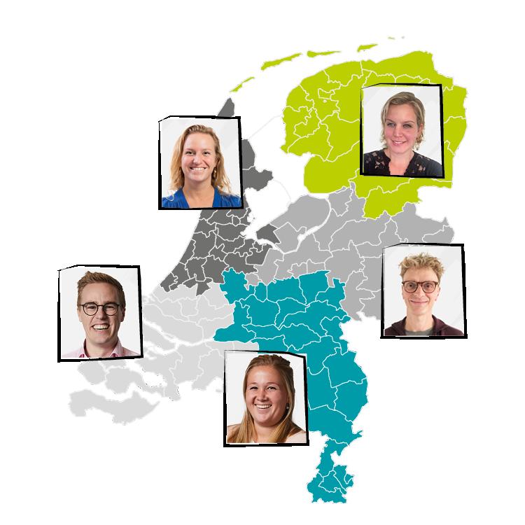 Kaartje regio's adviseurs IEP