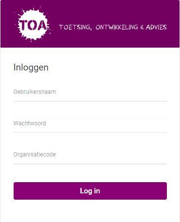 TOA Toetsplatform inlogscherm - Bureau ICE
